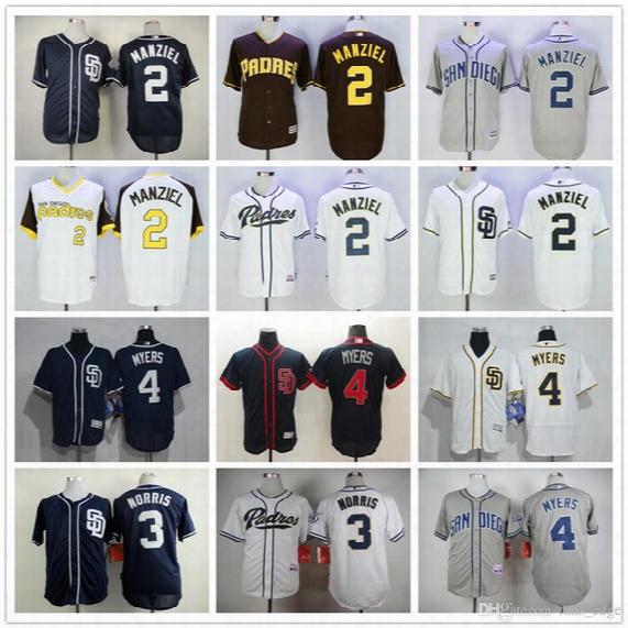Wholesale San Diego Padres 2 Johnny Manziel Baseball Jerseys 3 Derek Norris 4 Wil Myers Blank Blue Gray White Jersey Accept Mix Order