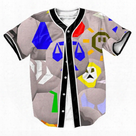 Wholesale-sweat Shirt Runescape Runes Jersey Summer Style With Buttons 3d Hip Hop Streetwear Men's Shirts Sport Tops Baseball Shirt