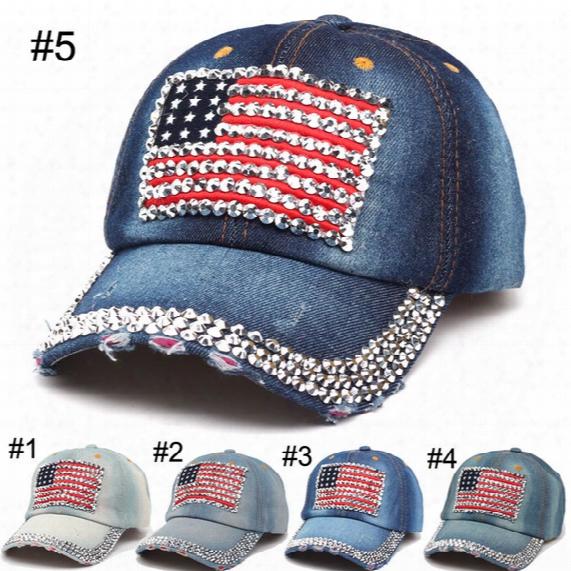 Women Baseball Caps Hats 2016 Summer American Flag Hat Cowboy Fashion Rhinestone Denim Cap 6 Panels Snapback Hat Leisure Sun Hat Hot