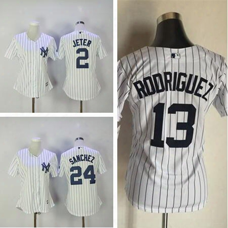 Women Baseball New York Yankees Blank 2 Derek Jeter 13 Alex Rodriguez 24 Gary Sanchez White Jersey Mix Order