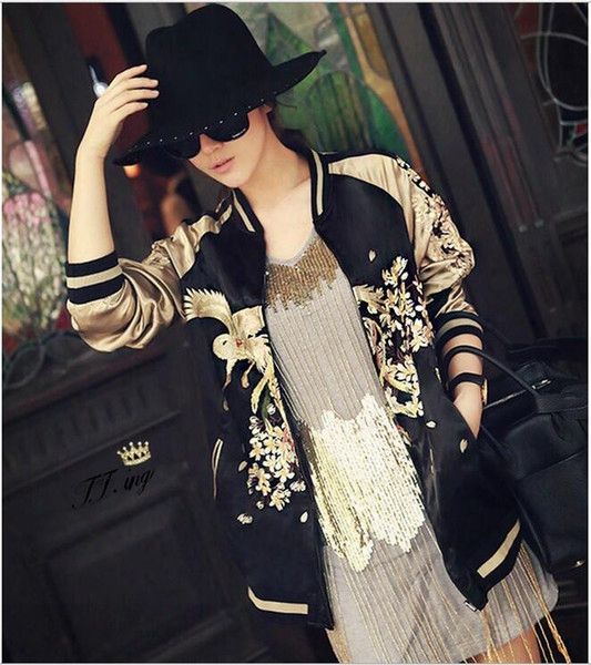 Women Vintage Embroidery Phoenix Bird Flowers Jacket Casual Two Side Wear Baseball Coat Golden Bomber Pilots Outwear Yn-4256 Free Shippin