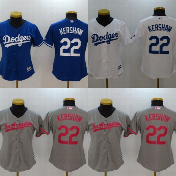 Womens #22 Clayton Kershaw Jersey Los Angeles Dodgers 100% Stitched Embroidery Logos Baseball Jerseys Cheap White Grey Blue Mix Order