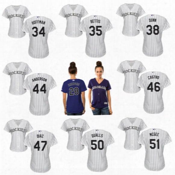 Womens Jerseys Colorado Rockies 34 Jeff Hoffman 35 Chad Bettis 38 Mike Dunn 44 Tyler Anderson 45 Scott Oberg Custom Baseball Jerseys