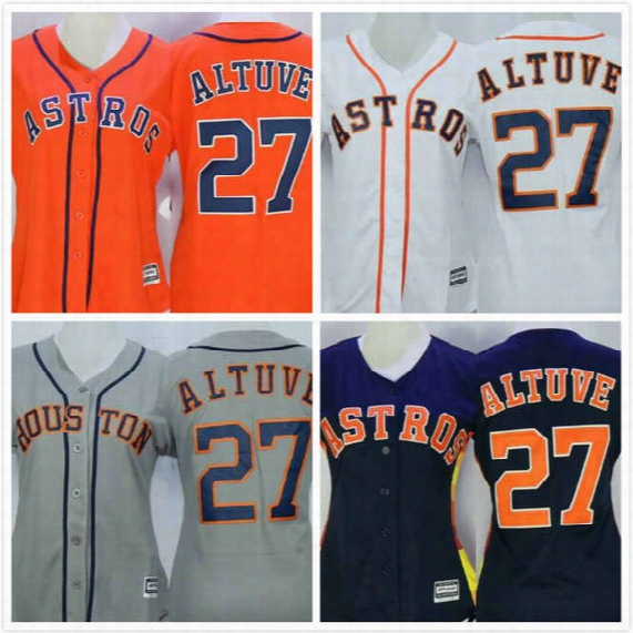 Womens Jose Altuve Jersey 27 Astros Baseball Jersey Throwback Full Stitched Embroidery Logo O Range Grey White Size S-2xl Free Shipping