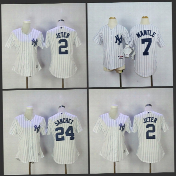 Womens New York Yankees Jerseyâ2 Derek Jeter 24 Gary Sanchez White Stripe Grey Baseball Jersey Free Shipping