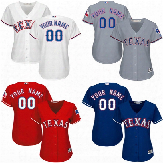 Womens Texas Rangers Custom Baseball Jersey Personalized Any Name And Number Stitched Embroidery Logos