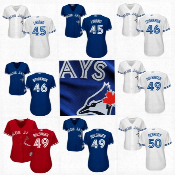 Womens Toronto Blue Jays Jerseys 41 Aaron Sanchez 45 Francisco Liriano 49 Mike Bolsinger 50 Matt Dermody 51 Dominic Leone Baseball Jerseys