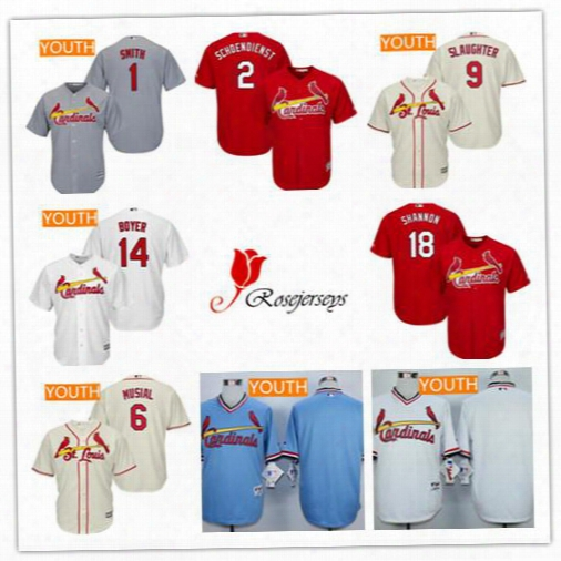 Youth Kids St.  Louis Cardinals Retired 9 Enos Slaughrer 18 Mike Shannon 45 Bob Gibson 1 Ozzie Smith Cream Red Gray White Pullover Jerseys