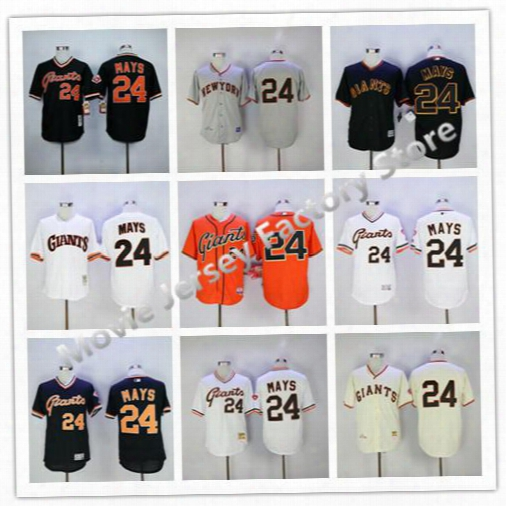 100% Stitched Sf/san Francisco Giants #24 Willie Mays Flexbase Baseball Jersey White Black,embroidery Logos