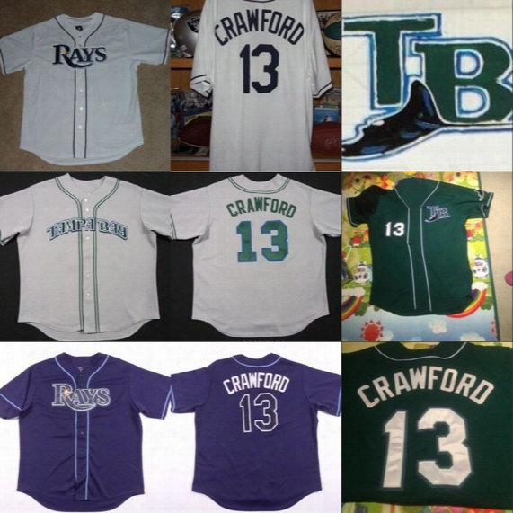 #13 Carl Crawford Tampa Bay Rays Throwback Jersey 100% Stitched Embroidery Logos Retro Baseball Jerseys Any Name And Number