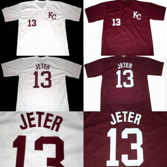 #13 Derek Jeter Kalamazoo High School Jersey 100% Stitched Embroidery Logos Throwback Baseball Jerseys White Red Free Shipping