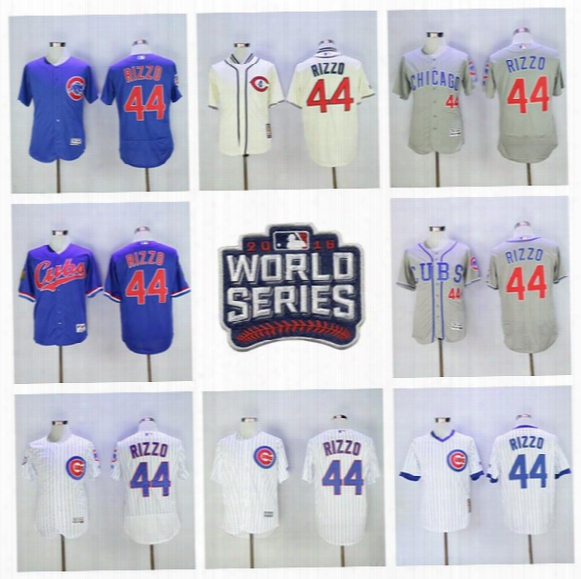 16 17 Baseball 44 Anthony Rizzo Jersey 2016 World Series Chicago Cubs Jerseys Postseason Flexbase White Pinstripe Pullover Blue Gray