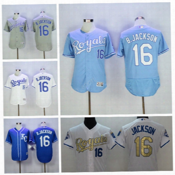 1985 Cooperstown 16 Bo Jackson Jersey Men Kc Kansas City Royals Baseball Jerseys Jackson Uniforms Throwback Blue Gold White Pullover Quality