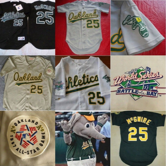 1989 World Series Patch Oakland Athletics #25 Mark Mcgwire Jersey Men's 1987 All Star Game Mark Mcgwire Throwback Baseball Jerseys