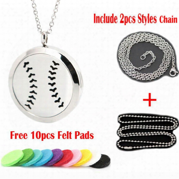 1pcs Magnet 30mm Cute Baseball Aromatherapy Essential Oil Surgical Stainless Steel Perfume Diffuser Locket Necklace With Chain And Pads