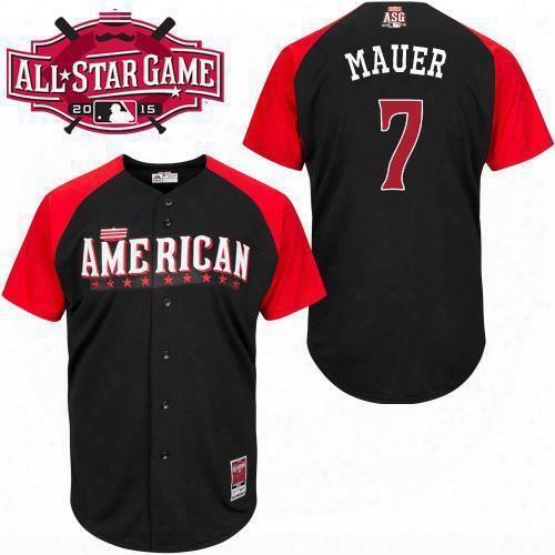 2015 All Star Minnesota Twins Mens Jerseys American League #7 Oje Mauer Black Bp Baseball Jersey 4809