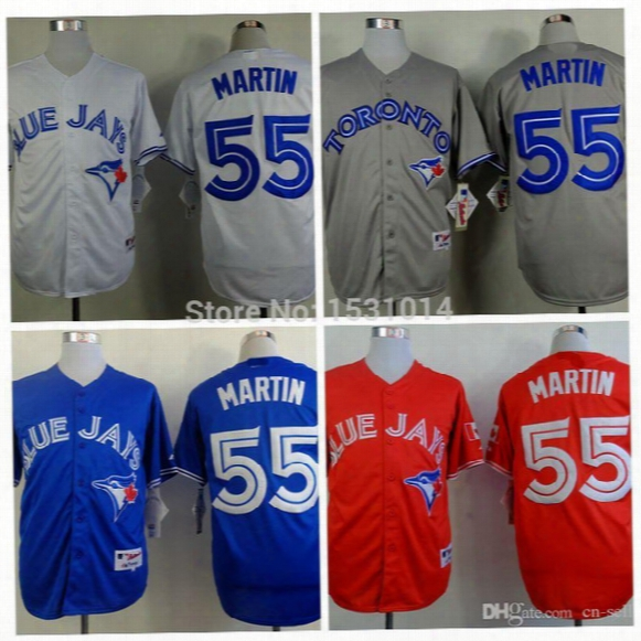 2015 New Cheap #55 Russell Martin Jersey Toronto Blue Jays Baseball Jerseys Blue Gray Authentic Russell Martin Stitched Jerseys M-xxxl