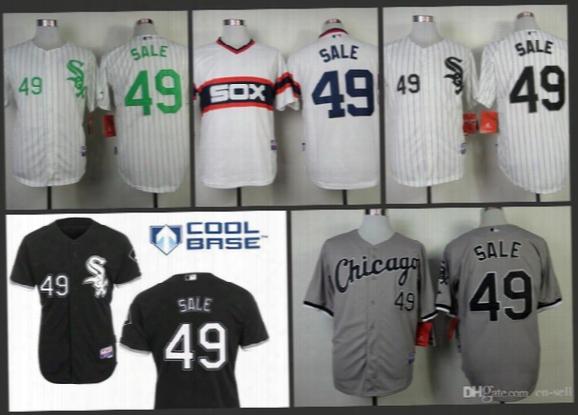 2015 New Cheap Price New Chicago White Sox Jerseys Black Gray White Green Stripe 49 Chris Sale Cool Baseball Jersey 100% Embroidery S-3xl