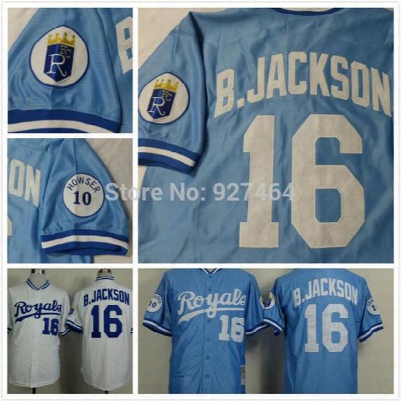 2015 New Cheap Stitched 2014 Kansas City Royals 16 Bo Jackson Blue White Throwback Cool Base Men's Baseball Jersey/ Shirt