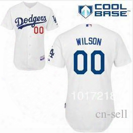 2015 New Good Quality Hot Sale Men's Baseball Jerseys Los Angeles Dodgers #00 Brian Wilson Cool Base Jersey,embroidery Logos