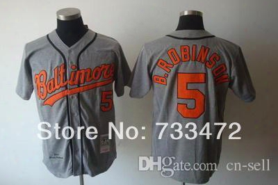2015 New Hot Sale Discount Baltimore Orioles Jersey #5 Brooks Robinson Gray Men's Throwback Baseball Jerseys, Size M-3xl
