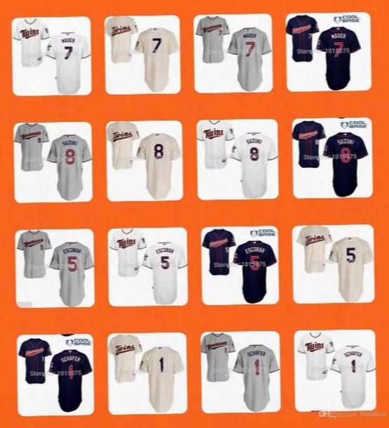 2015 New Minnesota Twins Jersey #1 Schafer #5 Eduardo Escobar #7 Joe Mauer #8 Kurt Suzuki White Blue Grey Cream Drop Shipping Top Quality