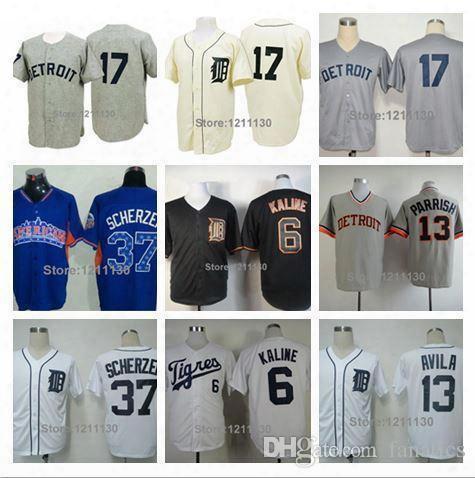 2015 New Wholesale Detroit Tigers Jersey Shirt Baseball #17 Denny Mcclain Jerseys #6 Al Kaline #13 Alex Avila #37 Max Scherzer Uniform