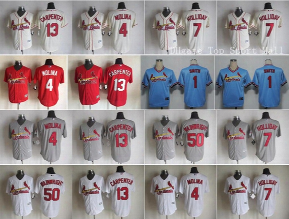 2016 Baseball 4 Yadier Molina 50 Adam Wainwright Jersey Game 1 Ozzie Smith 13 Matt Carpenter 7 Matt Holliday Throwback Red Blue Pale Gray