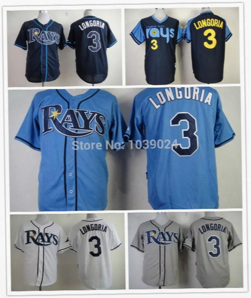 2016 New Blue 3 Evan Longoria Jersey Cheap Tampa Bay Rays Jerseys Baseball Longoria Rays Jersey Best Quality Embroidery Cheap