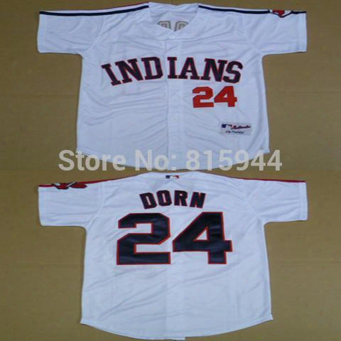 2016 New Cleveland Indians #24 Roger Dorn White Adult Baseball Jerseys Mix Order Free Shipping