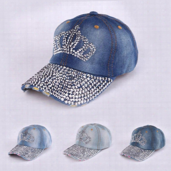 2016 New Fashion Crown Rhinestone Denim Baseball Cap Sun Visor Cap Men And Women Casual Cowboy Hat Baseball Hat Gorras Snapbac