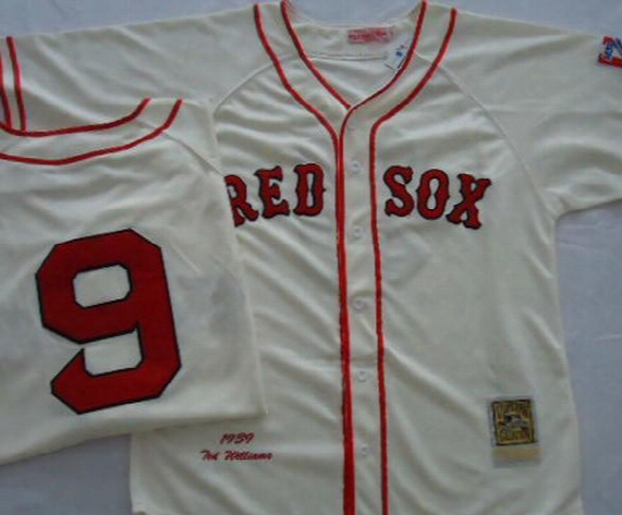 2016 New Free Shipping American Baseball Jersey Boston Red Sox #9 Ted Williams Throwback Jerseys Embroidery Logo Size 48-56