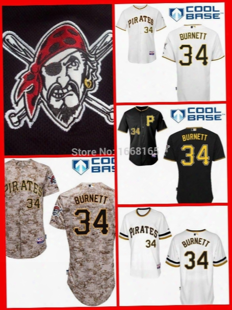 2016 New Hot Sale Pittsburgh Pirates #34 A.j. Burnett Jerseys Men's Authentic Stitched Embroidery Baseball Jersey Wholesale Mix Order