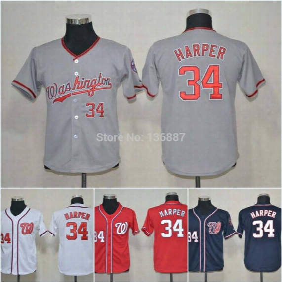 2016 Youth #34 Bryce Harper Washington Nationals,authentic Kids Baseball Jerseys, New Embroidery Logos,cool Inferior,cheap Jersey