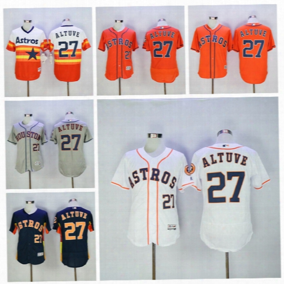 2017 2017 Flexbase 27 Jose Altuve Jersey Cool Base Houston Astros Jose Altuve Baseball Jerseys Dark Blue Rainbow Orange White Grey