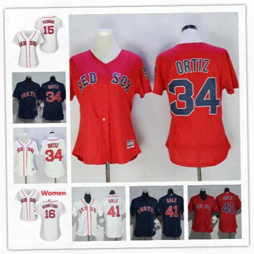 2017 Baseball Women's Jerseys Boston Red Sox David Ortiz Dustin Pedroia Andrew Benintendi Chris Sale Red White Cool Base Female Shirts
