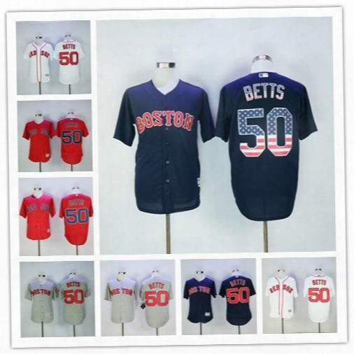 2017 Boston Red Sox 50 Mookie Betts Jerseys Flexbase Cool Base Color Withe Blue Red Grey Jersey Sittched Free Shipping