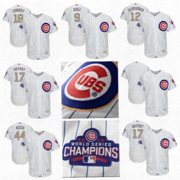 2017 Chicago Cubs Chamoions Gold Program #17 Kris Bryant #18 Ben Zobrist #9 Javier Baez #44 Anthony Rizzo #12 Kyle Schwarber Flexbase Jersey