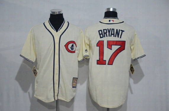 2017 Chicago Cubs Jersey 12 Schwarber Jersey 17 Kris Bryant 34 Jon Lester 44 Rizzo 14 Banks Cream 1929 Throwback Stitched Baseball Jersey