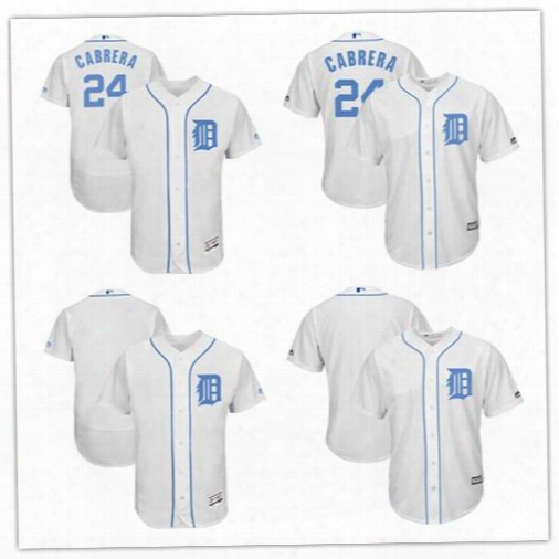 2017 Custom Men Detroit Tigers Miguel Cabrer White Jersey Father's Day Stitched Can Customed Any Name Any Number