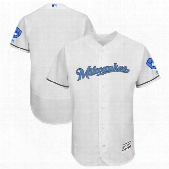 2017 Custom Men Milwaukee Brewers Majestic White Jersey Father's Day Stitched Can Customed Any Name Any Number