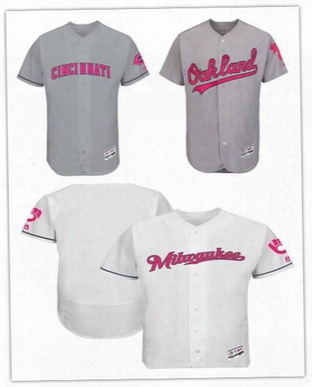 2017 Custom Men Women Cincinnati Reds Oakland Athletics Gray Milwaukee Brewers White Mother's Day Stitched Can Customed Any Name Any Number