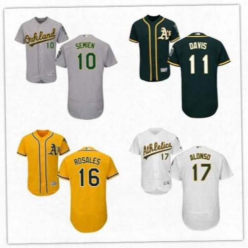 2017 Flexbase Men Oakland Athletics 10 Marcus Semien 11 Rajai Davis 16 Adam Rosales 17 Yonder Alonso Baseball Jerseys Stitched Size S-6xl