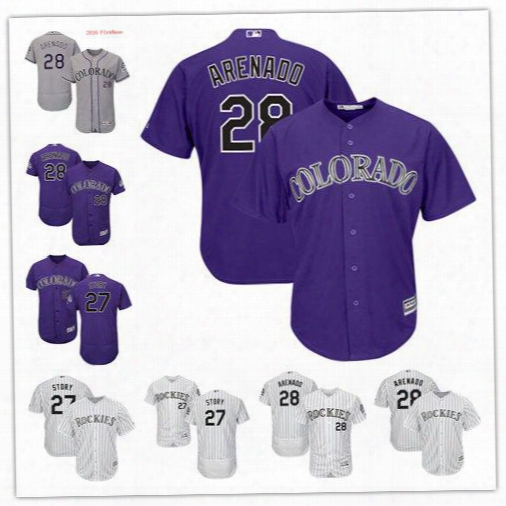 2017 Flexbase Mlb Stitched Colorado Rockies 28 Nolan Areenado 27 Trevor Story Blank White Gray Purple Baseball Jersey Free Shipping Mix Order