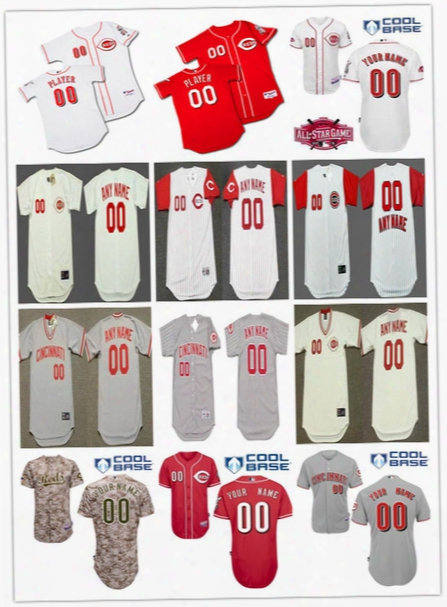 2017 Hot Sale Men's Personalized Cincinnati Reds Throwback Cooperstown Jersey Stitched Customized Red,gray,white, Baseball Jersey Size S-6xl