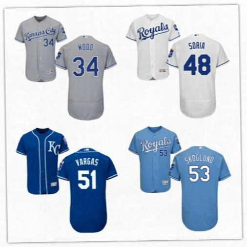 2017 Kansas City Royals 34 Travis Wood 48 Joakim Soria 51 Jason Vargas 53 Eric Skoglund Flex Base On-field Custom Baseball Team Jerseys