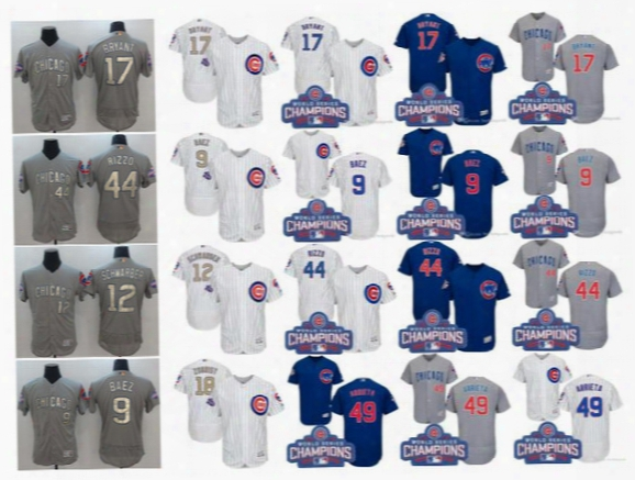 2017 Men's Chicago Cubs Jersey 12 Kyle Schwarber 44 Anthony Rizzo 9 Javier Baez 17 Kris Bryant World Series Champions Gold Baseball Jerseys