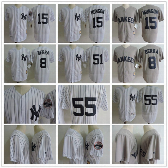 2017 Men's New York Yankees Throwback Jersey #8 Yogi Berra #15 Thurman Munson 7 Mickey Mantle #3 Ruth 51 Bernie Williams Baseball Jersey