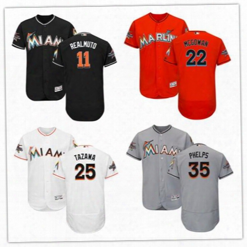 2017 Miami Marlins Jersey With All-star Game Patch 11 J.t. Realmuto 22 Dustin Mcgowan 25 Junichi Tazawa 35 David Phelpsb Aseball Jerseys