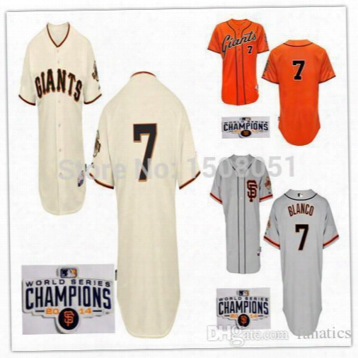 2017 New Free Shipping 2014 Men's Baseball Jersey San Francisco Giants #7 Gregor Blanco #18 Matt Cain W/champion Or World Serials Patch